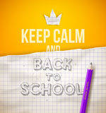 Keep calm and Back to school. Illustration with hand drawn sketch Stock Photos
