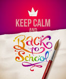 Keep calm and Back to school. Illustration with watercolor lettering Stock Image