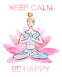 Keep calm and be happy poster, pretty young girl practicing lotus pose in a giant lotus flower, watercolor with clipping mask tech Stock Image