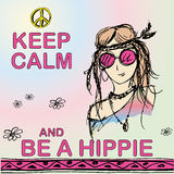 Keep calm and be hippie. Girl hippie. Vector illustration Stock Photo