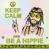 Keep calm and be hippie. Royalty Free Stock Images