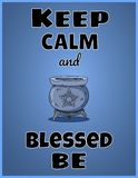 Keep calm and blessed be. Wiccan poster design with magic cauldron with pentagram stock illustration