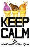 Keep Calm.  bunny  watercolor illustration Royalty Free Stock Photo