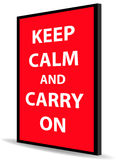 Keep calm and carry on. Message of keep calm and carry on on red back board Stock Photos