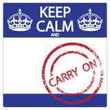 Keep Calm And Carry On Sticker Royalty Free Stock Photography
