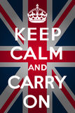Keep calm and carry on - Union Jack. Keep calm and carry on with union jack background Royalty Free Stock Photo