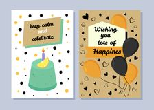 Keep Calm and Celebrate, Congratulation Postcards. Text sample with wishing lot of happiness, birthday cake with orange and candle, vector illustration Royalty Free Stock Photography