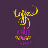 Keep calm and coffee. Modern brush calligraphy. Handwritten ink lettering. Hand drawn design elements. Stock Photos