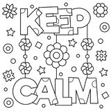 Keep calm. Coloring page. Vector illustration. Keep calm. Coloring page. Black and white vector illustration Royalty Free Stock Photos