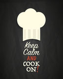 Keep calm and cook on poster. Abstract background Royalty Free Stock Image