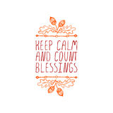 Keep calm and count blessings - typographic Royalty Free Stock Photos