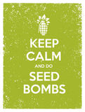 Keep Calm And Do Seed Bombs. City Gardening Activity Vector Eco Poster Concept. Stock Photos