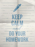 Keep calm do your homework design quote with with pen icon Royalty Free Stock Images