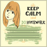 Keep calm and do your homework Royalty Free Stock Image