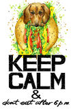 Keep Calm.  Dog watercolor  illustration. Stock Photos