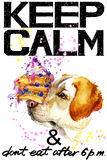 Keep Calm. Dog watercolorr illustration.