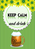 Keep calm and drink beer Royalty Free Stock Photography