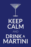 Keep calm and drink a martini. Card. Poster for the national martini day. Vector illustration with text and cocktail glass and olive isolated on a background Royalty Free Stock Images