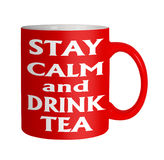 Keep calm drink tea red mug on white Royalty Free Stock Image