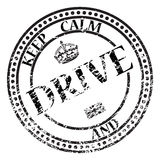 Keep Calm And Drive Stamp. A keep calm and drive stamp isolated on a white background Royalty Free Stock Images