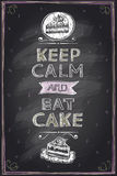 Keep calm and eat a cake guotes mock up design Stock Photos