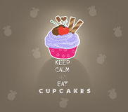 Keep calm and eat cupcakes Royalty Free Stock Images