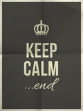 Keep calm end quote on folded in four paper texture Royalty Free Stock Images