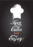 Keep calm and Enjoy. Modern Poster to promote your restaurant with the words Keep calm and enjoy Stock Photography