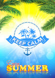 Keep calm and enjoy the summer - background. With palm trees. A4 format Stock Photos
