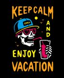 KEEP CALM AND ENJOY VACATION SKELETON COLOR royalty free illustration