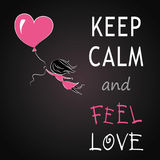 Keep calm and feel love, girl is flying on a balloon in the shap Royalty Free Stock Photos
