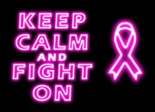 Keep calm and fight on breast cancer stock photo