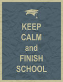 Keep calm and finnish school typographic quote Stock Image
