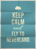Keep calm fly to neverland quote on folded in eight paper textur Stock Image