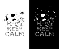 Keep calm funny white and black t-shirt print designs. Mug print template. Vector illustration. Stock Images