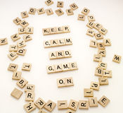 Keep Calm and Game On. Word play on the British Keep Calm and Carry On Sign Saying royalty free stock images