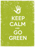 Keep Calm And Go Green Eco Poster Concept. Vector Creative Organic Illustration On Paper Background. Keep Calm And Go Green Eco Poster Concept. Vector Creative Stock Image
