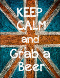 Keep Calm and Grab a Beer. United Kingdom (British Union jack) flag background, hand drawing with chalk on blackboard, vintage concept Stock Photos