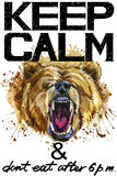 Keep Calm.  Grizzly bear watercolorr illustration. Stock Images