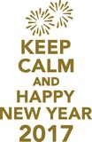 Keep calm and happy new year 2017. Vector Stock Photos