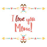 Keep calm and hug Mom. Inspiration positive banner for Happy Mother Day or Birthday. Stock Photography