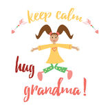 Keep calm and hug Mom. Inspiration positive banner for Happy Mother Day or Birthday. Royalty Free Stock Photo
