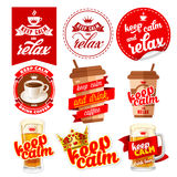 Keep calm icons set. With coffee, beer and relax Royalty Free Stock Photo