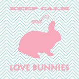 Keep calm and love bunnies card Royalty Free Stock Images