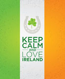 Keep Calm And Love Ireland. Creative Vector Banner Concept With Shamrock Inside Horseshoe Icon. Royalty Free Stock Photo