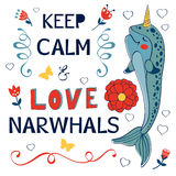 Keep calm and love narwhals Royalty Free Stock Photography