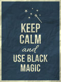 Keep calm magic quote. Keep calm and use black magic quote on navy blue crumpled paper texture with frame royalty free illustration