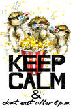 Keep Calm.  Meerkats watercolor illustration. Stock Image