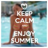 Keep calm motivational poster with summer motive. Happy young woman in swimming pool drinking cocktail. Summer vacation in resort Stock Photography