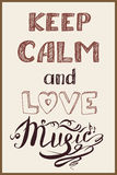 Keep calm and music Stock Images